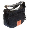 RMC Unisex Denim and Leather Shoulder Bag with Embroidered Tsunami Wave Denim Trim Handles REDM5528
