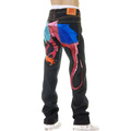 Yoropiko Hungry Dragon 574 Sky Blue Pink Royal Blue Embroidered Raw Selvedge Denim Jeans YORO5415