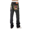 RMC Martin Ksohoh Super Exclusive Crane Embroidered Indigo Raw Selvedge Vintage Cut Denim Jeans for Men REDM2889