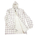 Yoropiko Martin Yat Ming Mens White and Coffee Checked Regular Fit Hooded Functional Jacket REDM3168