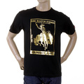 RMC Jeans Crewneck Regular Fit Gold Foil Cowboy Rodeo Printed Short Sleeved Black T-Shirt REDM2089