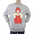 RMC Martin Ksohoh Marl Grey Crew Neck Large Fitting RWH141264 Sweatshirt for Men with Red My Girl Print REDM0952