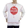 RMC Martin Ksohoh White Crew Neck Large Fitting RWH141264 Sweatshirt for Men with Crazy Children Print REDM0928