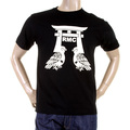RMC Jeans Regular Fit RQT11065 Crewneck Short Sleeved Pigeon Black T-Shirt with Cream Pigeon Print REDM0982