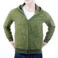 RMC Martin Ksohoh R6MPJK492WGR Moss Green Zipped Wool Mix Tsunami Wave Embroidered Hooded Jacket REDM1053