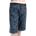 RMC Jeans mens blue embroidered tsunami wave denim shorts REDM4147