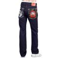 RMC Mens Indigo 1011 Embroidered Maruda Fujin Raijin Japanese Unsanforized Raw Selvedge Denim Jeans REDM4460