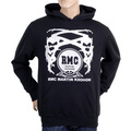 RMC Martin Ksohoh Long Sleeve Kangaroo Style Pocket Regular Fit Black Hoodie with Silver Logo Print REDM0711