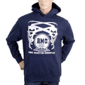 RMC Jeans Regular Fit Long Sleeve Printed Silver Logo Hoodie in Navy Blue with Kangaroo Style Pocket REDM0713